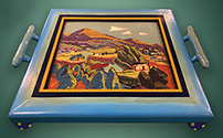 Blue landscape tray